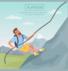 Bearded man climbing on mountain using rope vector