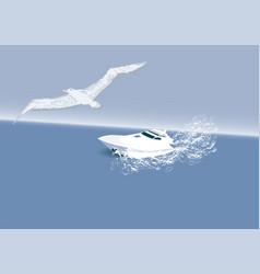 Boat and albatross vector