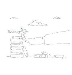business man climb books stack education career vector image vector image
