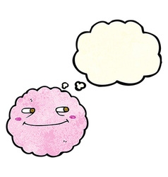 Cartoon happy cloud with thought bubble vector