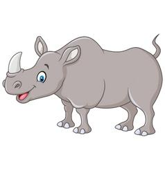 Cartoon happy rhino standing isolated vector