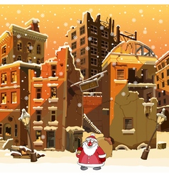 cartoon Santa Claus with a bag in the ruined city vector image