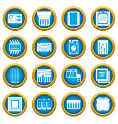 computer chips icons blue circle set vector image vector image