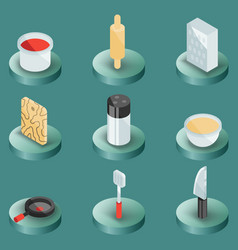 cooking color isometric icons vector image