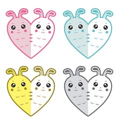 Cute rabbits-hearts vector image