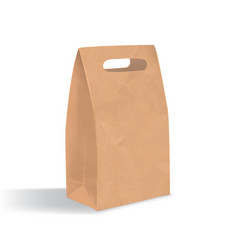 Empty brown paper bag with handles holes vector