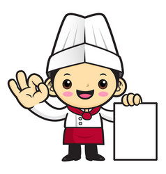 executive chef character paper and okay gestures vector image
