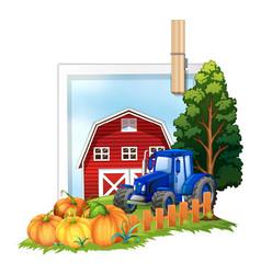 Farmyard with tractor and barn vector
