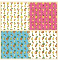Fruits seamless background set with funny lemons vector
