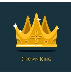 Golden king crown or retro monarch headdress vector image