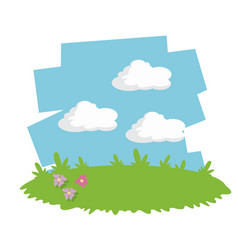green meadow flowers garden sky cloud vector image