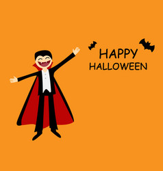 Halloween card with friendly dracula in flat vector
