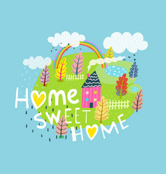 Home sweet home quote lettering vector