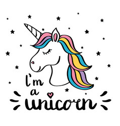 i m a unicorn handwriting text drawing isolated on vector image vector image