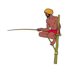 Indian man in handscarf fishing at stilt vector