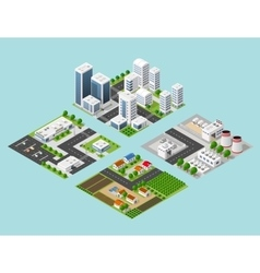 isometric three-dimensional city vector image