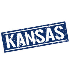 kansas blue square stamp vector image vector image