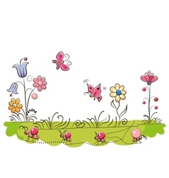 Meadow with Cute Flowers vector image