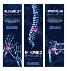 medical banners rheumatology traumatology vector image vector image