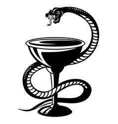 Medicine symbol - snake on cup vector image