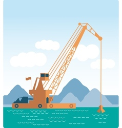 Modern style flat huge crane barge industrial ship vector