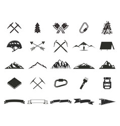 Mountain expedition silhouett icons set climb and vector