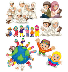 muslim families around the world vector image