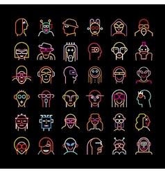 neon avatar set vector image vector image