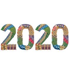 Number 2020 zentangle decorative object vector