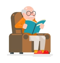 Old Man Characters Read Book Sit Chair Adult Icon vector image