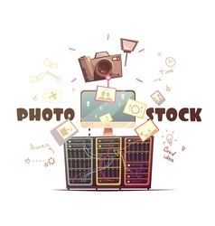 Photo microstock industry concept retro vector