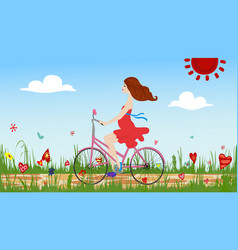 Pregnant young woman riding bike on spring vector