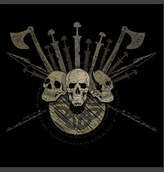 ragnarok viking design three skulls of vikings vector image