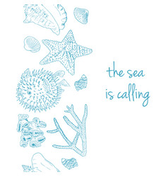 sea is calling marine postcard with seashells vector image vector image