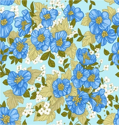 Seamless pattern of blue wildflowers vector