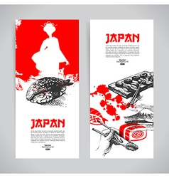 Set of japanese sushi banners vector