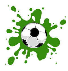 Soccer ball green splatter vector