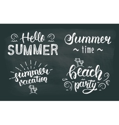 Summer chalk hand lettering set summer chalk vector