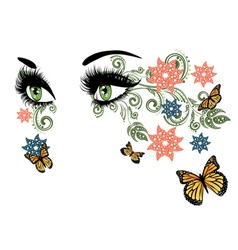 Summer eyes with floral vector