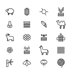symbols of fabric feature thin line icon set vector image
