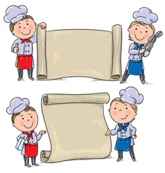 Two funny kids cook with banner scroll vector image