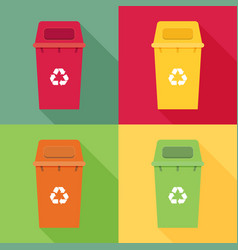 Waste sorting garbage bin set waste management vector