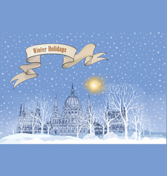 winter holiday snow landscape background vector image
