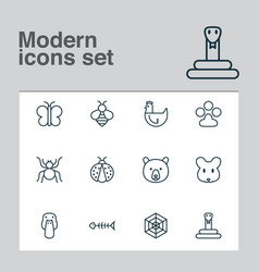 zoo icons set collection of spider duck grizzly vector image