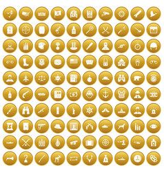100 bullet icons set gold vector