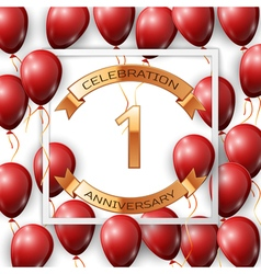 Realistic red balloons with ribbon in centre vector