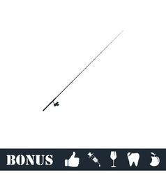 Fishing rod icon flat vector