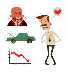 Businessman heart risk man heart attack stress vector