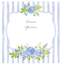 Vintage cardwatercolor blue rosestripslabel vector