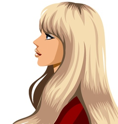 side view of woman smiling vector image